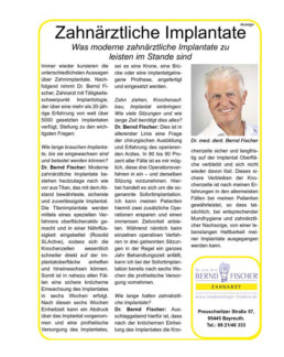 Veröffentlichung Implantologie Bayreuth